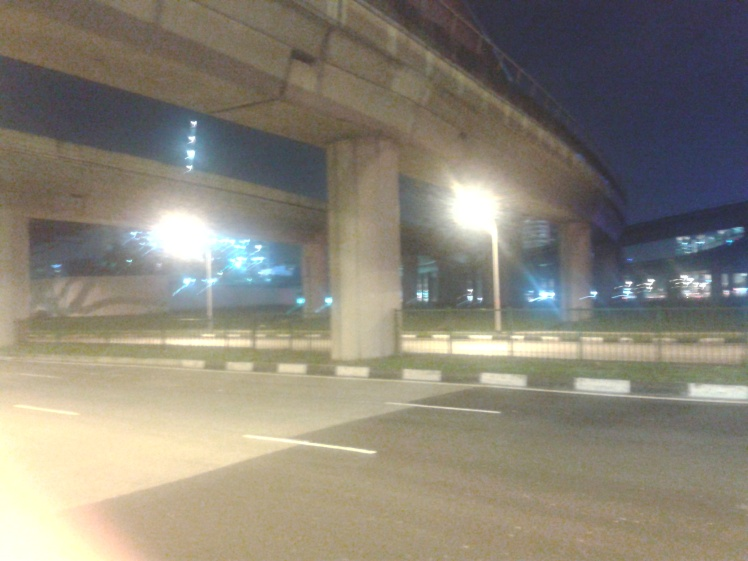 Futuristic ... the MRT flyovers of Jurong East at night