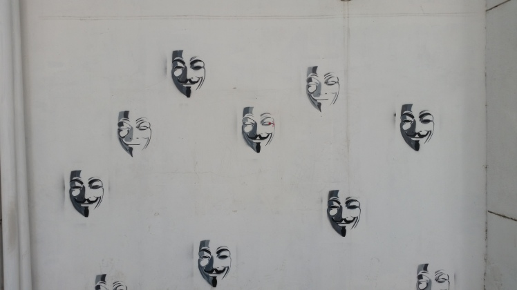 There are many masks put up here ... and many masks stripped off